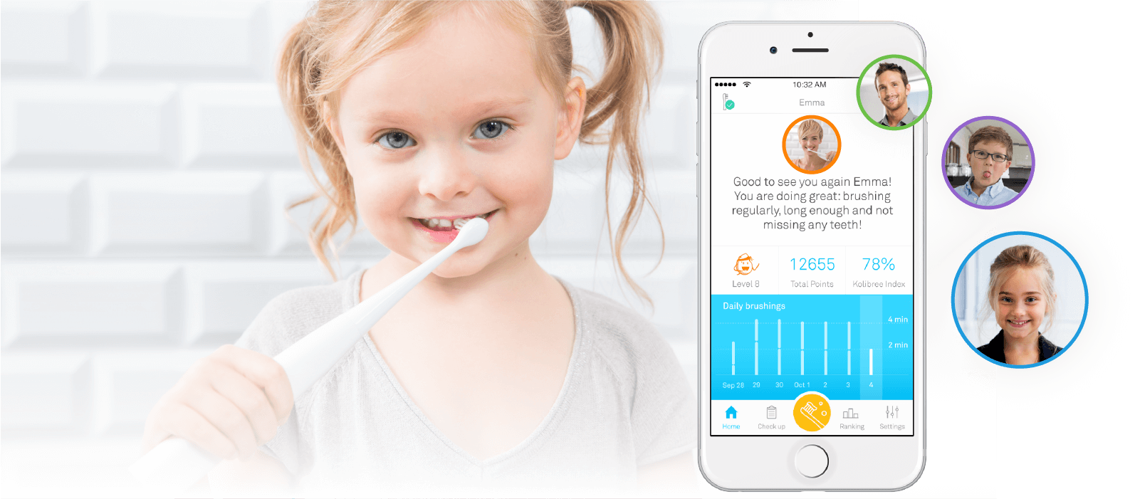 Family toothbrush with interactive app and games