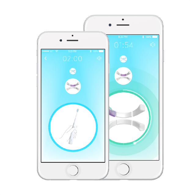 Interactive Bluetooth app with brushing tips and coaching
